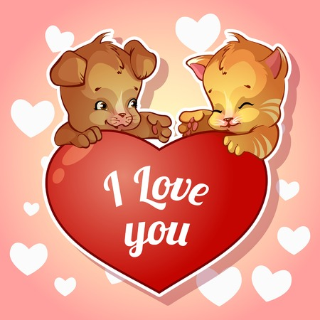 Cute puppy and kitten with hearts for Valentine\ Vector