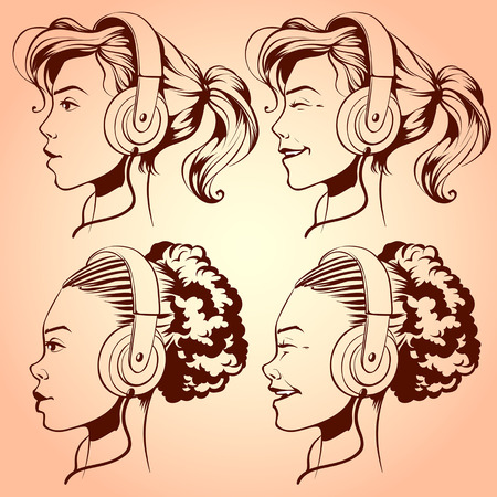 ebony: Cute girl with headphones Illustration