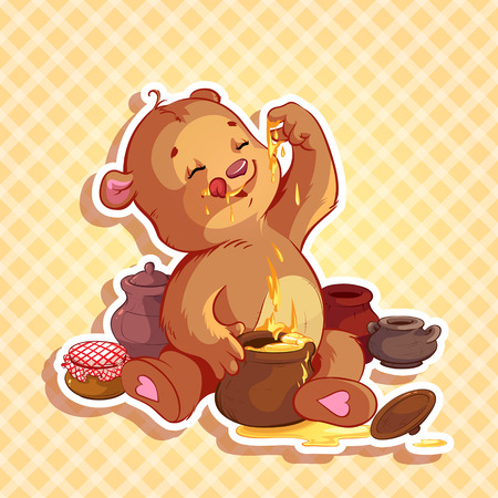 baby: Cute teddy bear eats honey from the pot Illustration