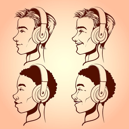 black male: Men with headphones
