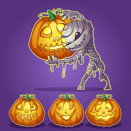 mummy with pumpkins for Halloween Illustration