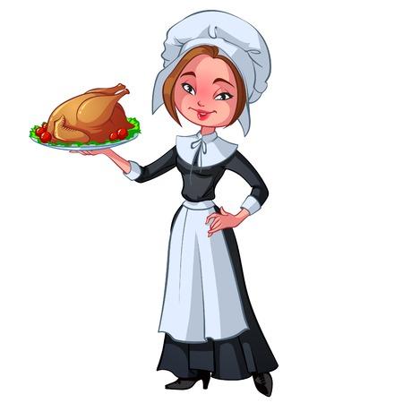 period costume: Pilgrim woman with a dish of turkey Illustration