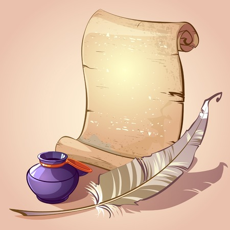 inkpot: scroll with feather and inkpot