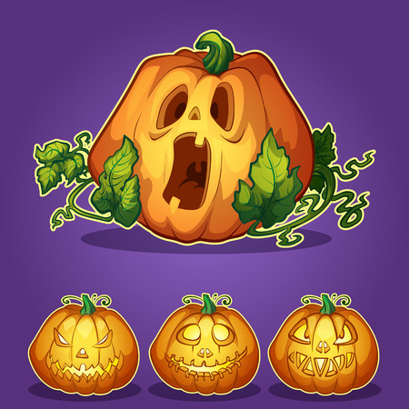 Set of pumpkins for Halloween Vector