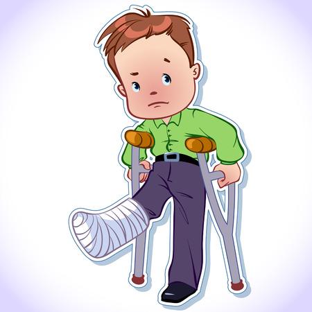 キャストで骨折した足を持つ少年