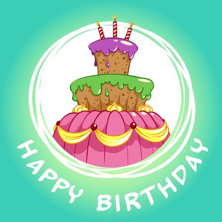 felicitation: Birthday card with a big chocolate cake