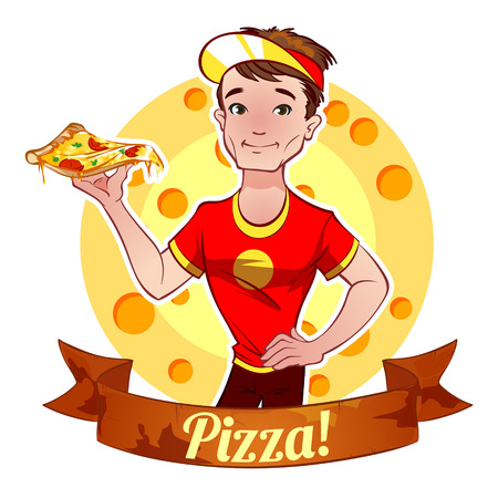 brunette: Brunette boy with pizza