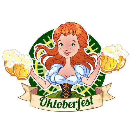 Red-haired girl with beer mugs for Oktoberfest Vector