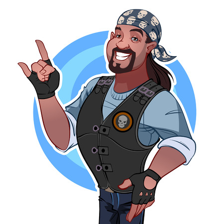 cartoon biker: Smiling man in the bandana. Rocker Illustration