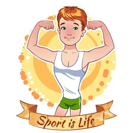 Sporty boy in shorts. Sport is life. Çizim