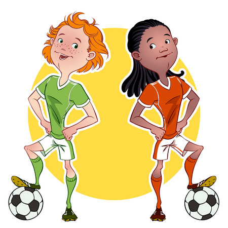 Two football players Vector