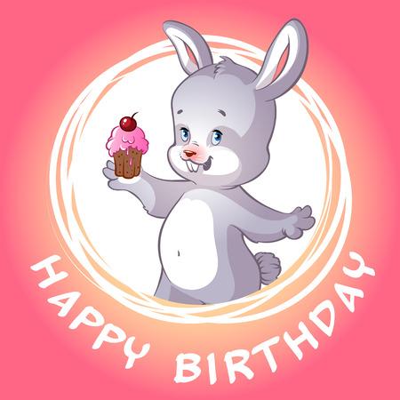 felicitation: Birthday card with cute little hare