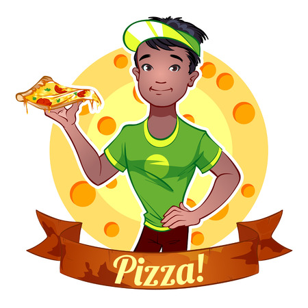 ebony: Black boy with pizza Illustration