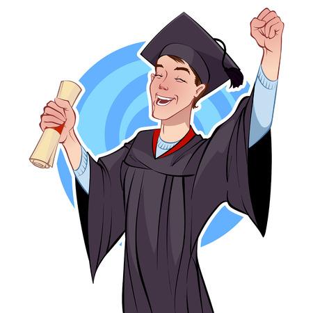toga: Graduado alegre con un diploma Vectores