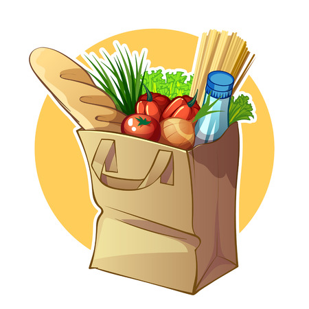 greengrocery: Paper bag with food