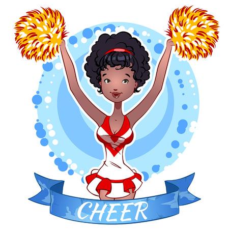black cheerleader: Pretty Cheerleader with Pom Poms