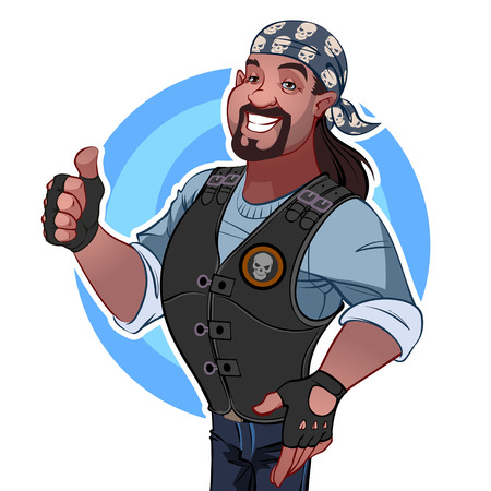 cool guy: Smiling man in the bandana. Rocker Illustration