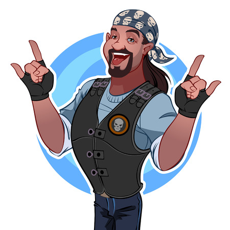 ebony: Smiling man in the bandana. Rocker Illustration