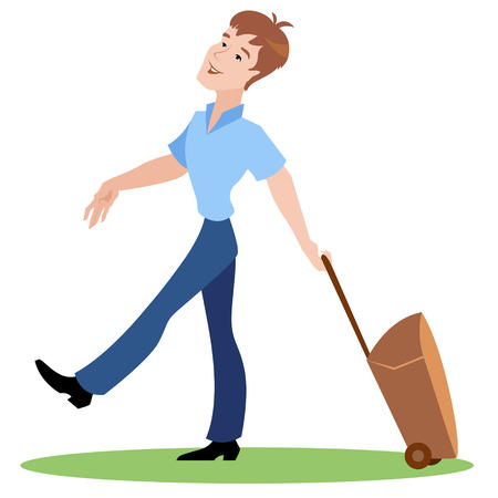 Tourist man with a suitcase on wheels Vector