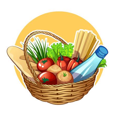 Panier en osier avec de la nourriture