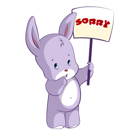 sorry: Cute hare with a sign - Sorry