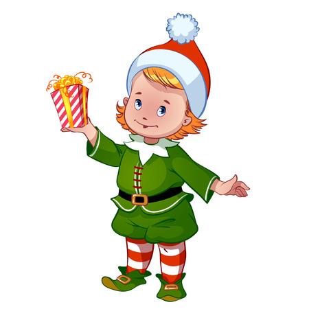 helper: Cute little elf with a gift - Santa Claus helper