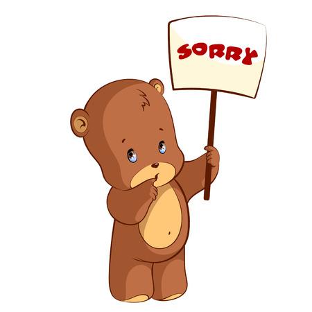 Cute teddy bear with a sign - Sorry Illustration