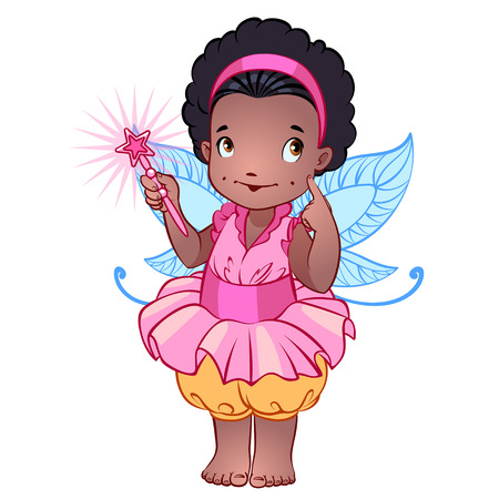 pink dress: Little cute fairy in a pink dress with magic wand