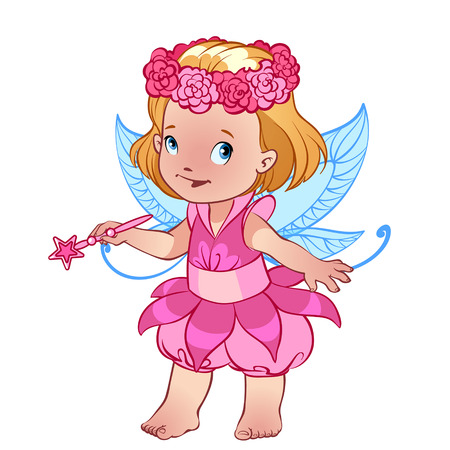 pink dress: Little cute girl in a pink dress with magic wand Illustration