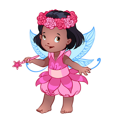 girl magic wand: Little cute girl in a pink dress with magic wand Illustration