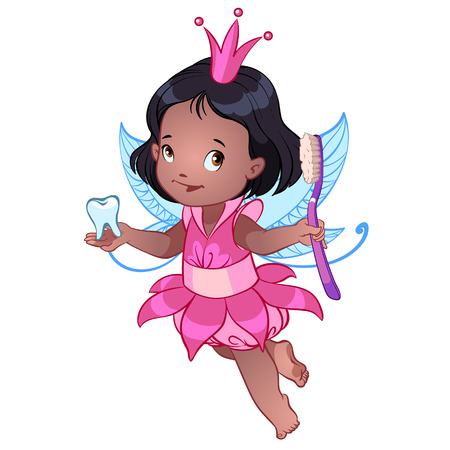 black princess: Little cute Tooth Fairy with toothbrush Illustration