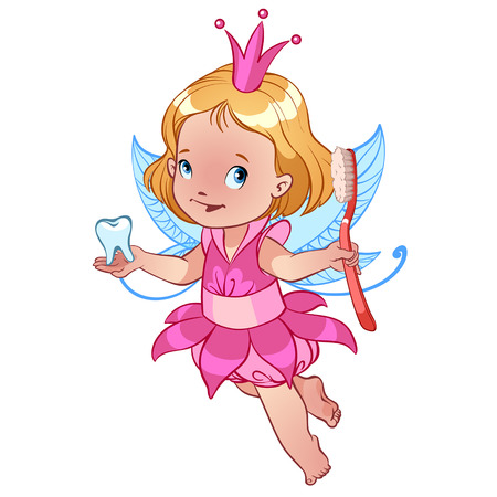 tooth fairy: Little cute Tooth Fairy with toothbrush Illustration