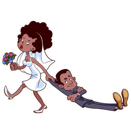 怒っている花嫁が結婚する新郎をドラッグします。