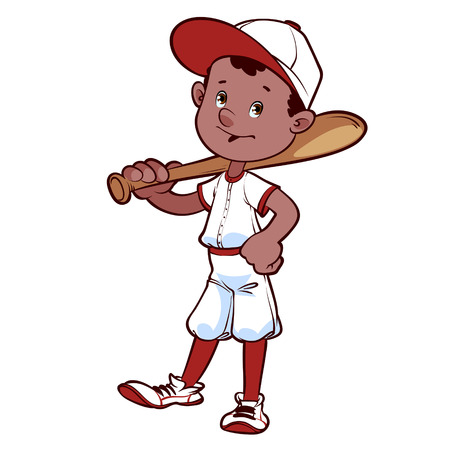 ebony: Baseball player with a bat on his shoulder Illustration