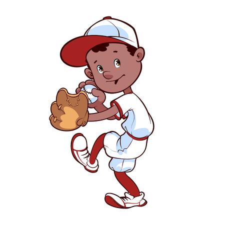 baseball cartoon: Baseball player with ball and glove