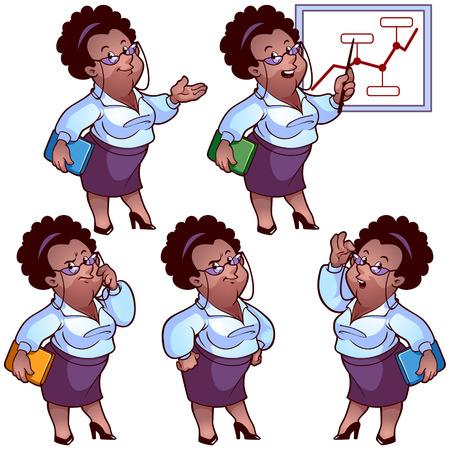 african american woman business: Business woman cartoon character set