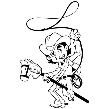 lasso: Cowboy with lasso on a stick-horse outlined on a white background