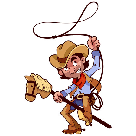 cowboy's: Cowboy with lasso on a stick-horse