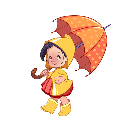 galoshes: Cute little girl with umbrella