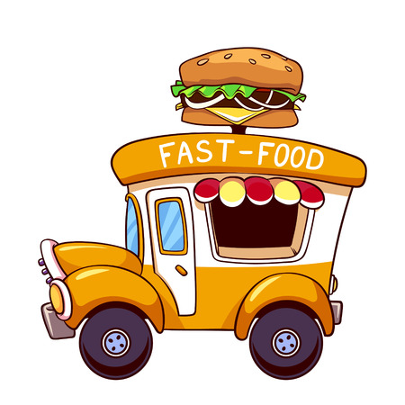 Cartoon Fast Food Car With A Big Hamburger On White Background