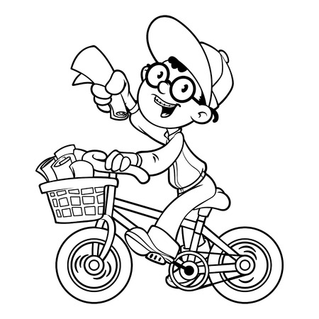 Cartoon paper boy by bike. Outline on a white background Vector