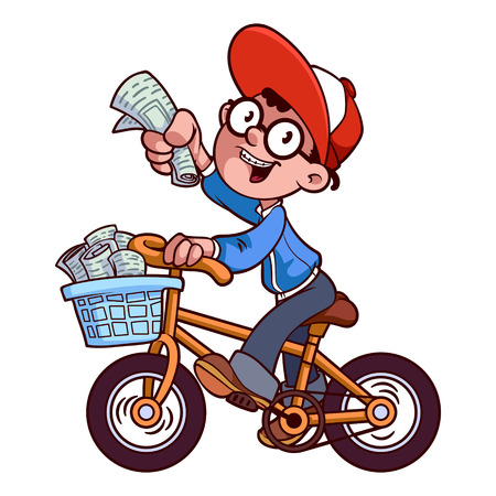 Cartoon paper boy by bike Çizim