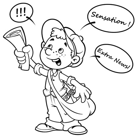 Cartoon paper boy yelling outlined on a white background Vector