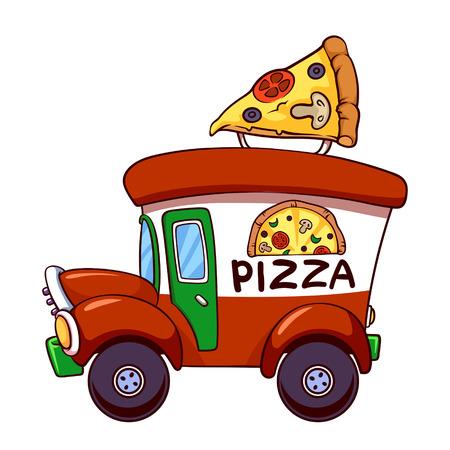 Cartoon pizza car  イラスト・ベクター素材