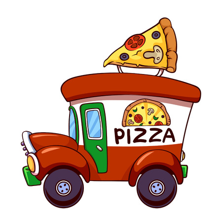 delivery truck: Cartoon pizza car Illustration