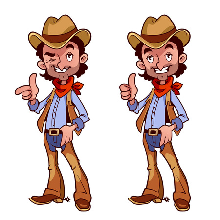 Cheerful cowboy with a finger up