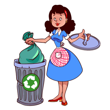 garbage bag: Cute housewife in apron throwing garbage