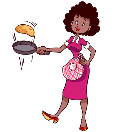 teenagers only: Cute housewife in apron with a frying pan and pancake