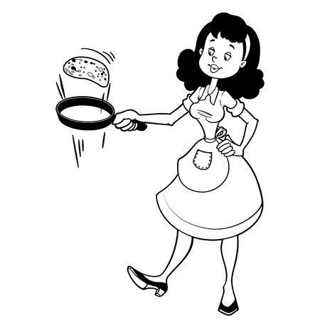stereotypical: Cute housewife in apron with a frying pan and pancake.  Outline on a white background