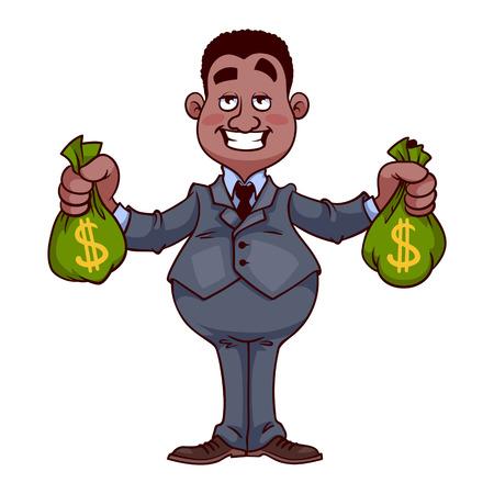 ebony: Happy businessman with bags of money Illustration